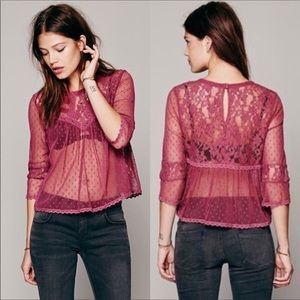 Free People Modern Romance Sheer Lace Top Size XS